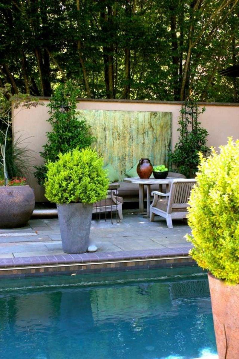 beton pflanzkübel Poolterrasse Sichtschutz