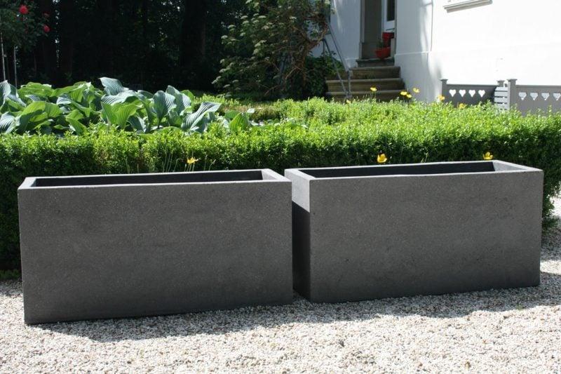 beton pflanzkübel pflanztrog fiberzement grau maxi
