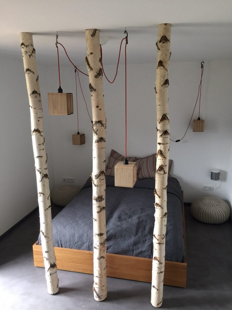 Birkenstamm Deko Bett Schlafzimmer