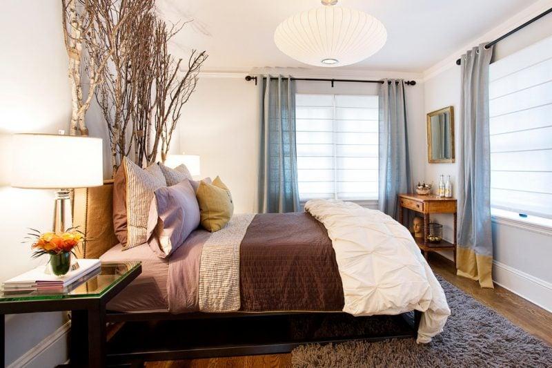 Birkstamm Deko Blumen Schlafzimmer