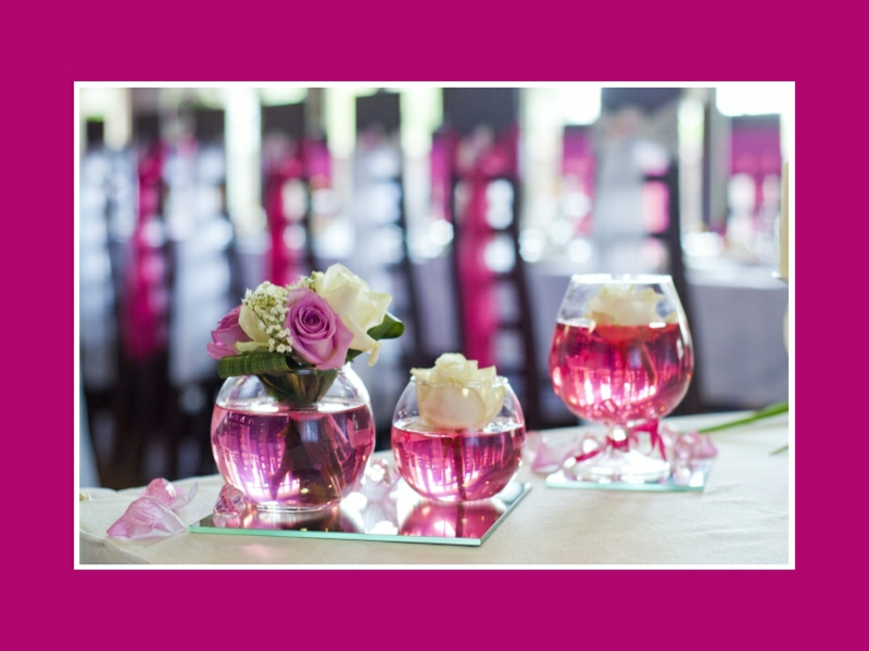 rosa tischdekorationen für hochzeit
