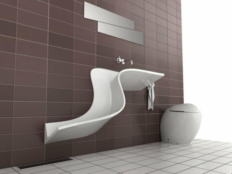 extravagantes waschbecken mit geschwungenen linien