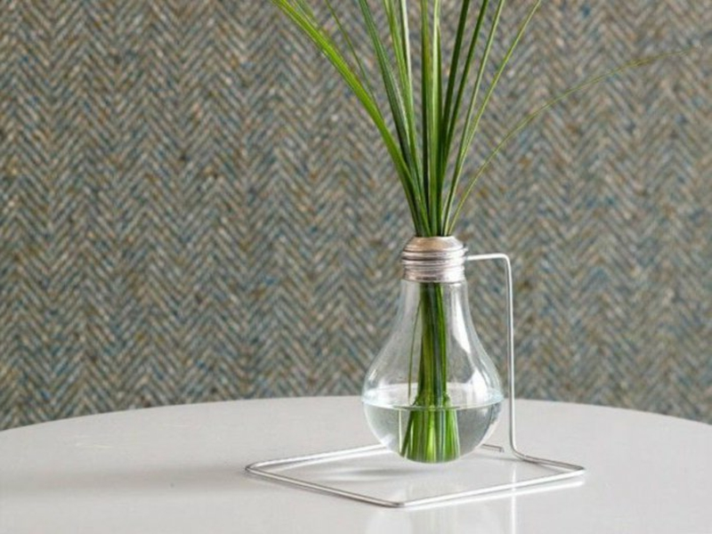 vase aus glühbirne und grass