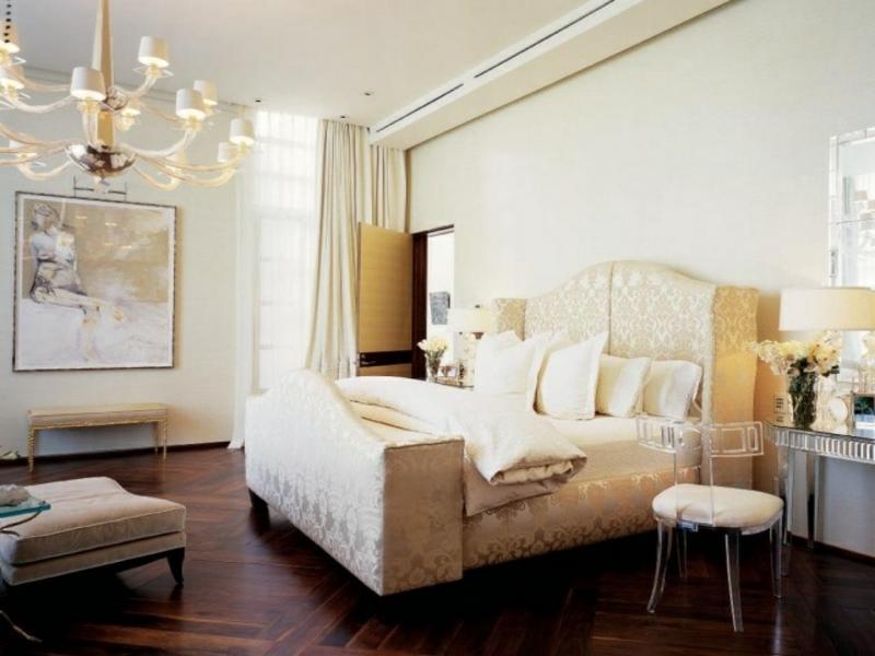 moderner parkettboden im luxus schlafzimmer