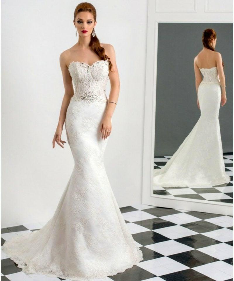 Meerjungfrau Ausschnitt schulterfreies Hochzeitskleid