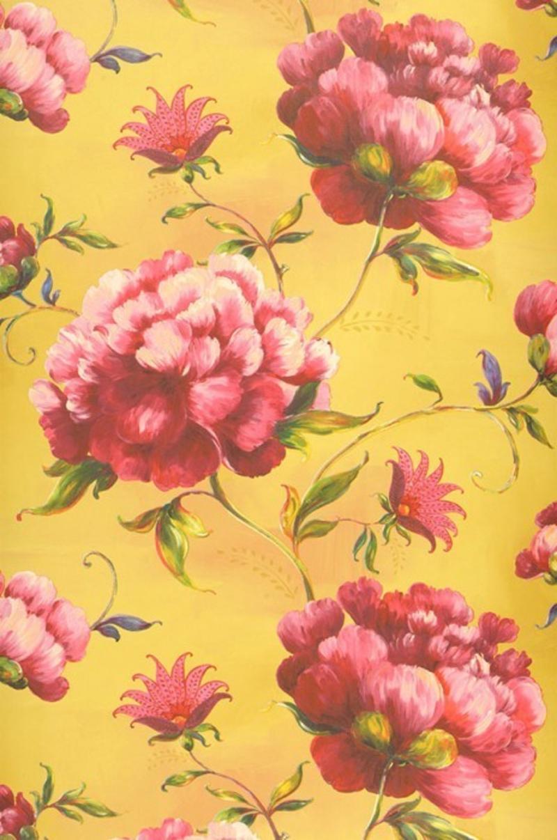 ausgefallene Tapeten gelbe Tapete mit Blumen