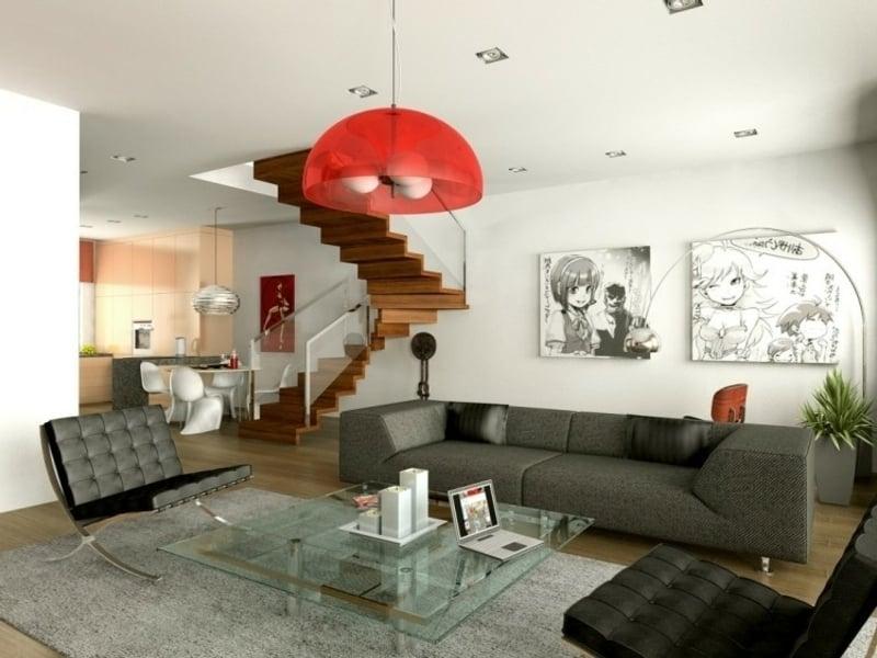 große rote lampe im feng shui wohnzimmer
