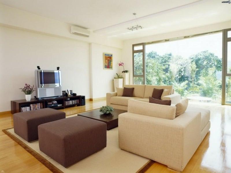 Feng Shui Wohnzimmer Fernseher Riesige Panorama Fenster Im
