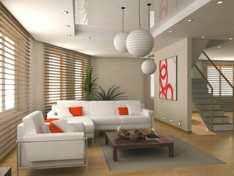 große weiße lampen im feng shui wohnzimmer