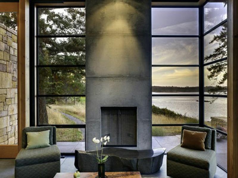 kamin und eckfenstergestaltung