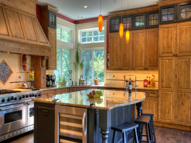eckfenster in einer retro küche