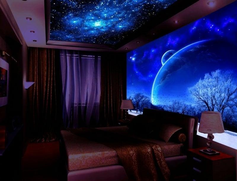 Schlafzimmer Wanddekoration mit selbstleuchtenden Farben