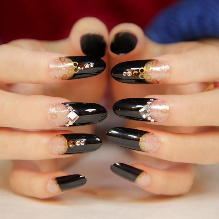 french nägel schwarz