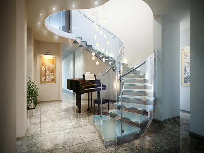 musik und moderne treppen aus glas