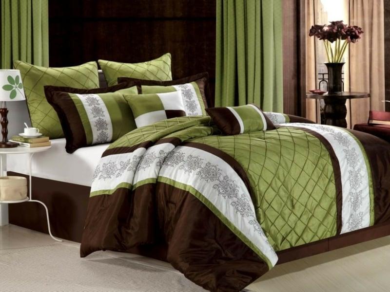 grün-braune luxus bettwäsche
