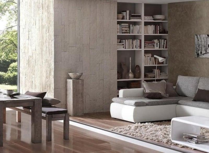 Steinoptik bei Wandgestaltung Wohnzimmer
