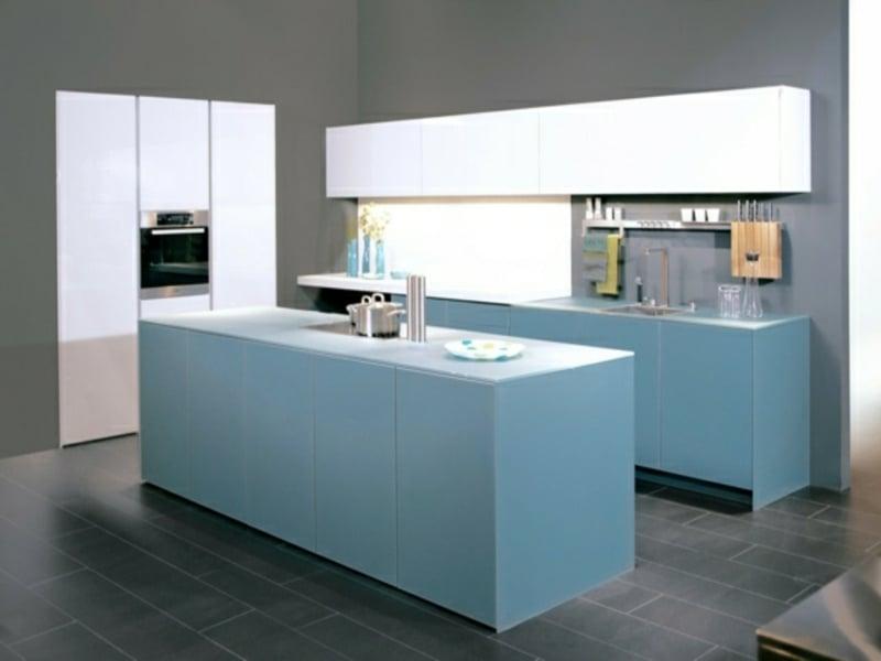 designer himmelblaue kücheninsel