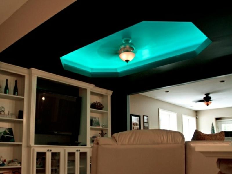 stilvolle blaue indirekte beleuchtung