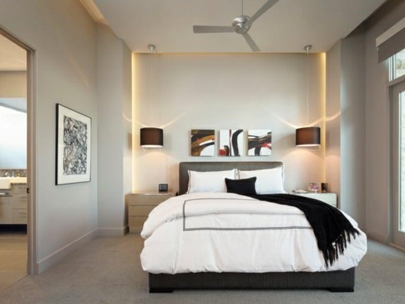 pendelleuchte und indiekte beleuchtung im schlafzimmer