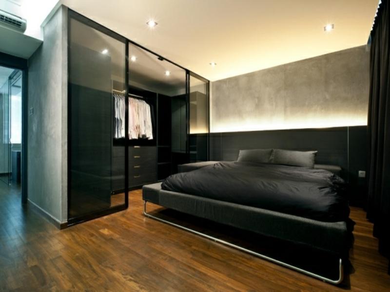 indirekte beleuchtung und schwarzer glas kleiderschrank