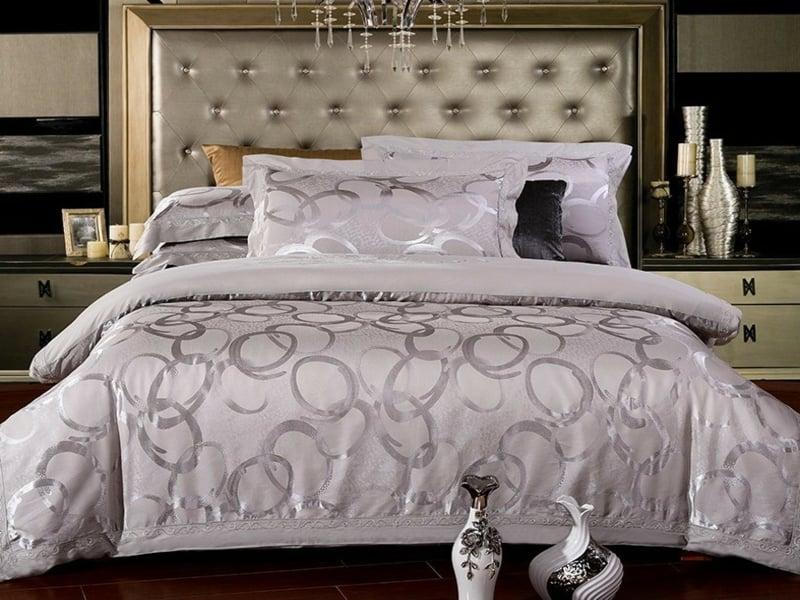designer lila und grau luxus bettwäsche