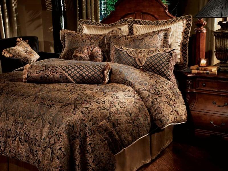 desigenr luxus bettwäsche in braunen nuancen
