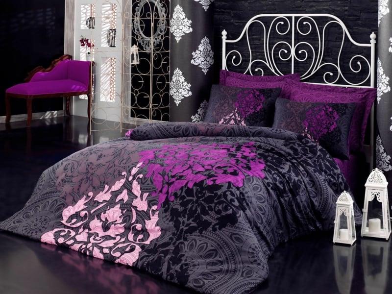 schöne lila-grau luxus bettwäsche
