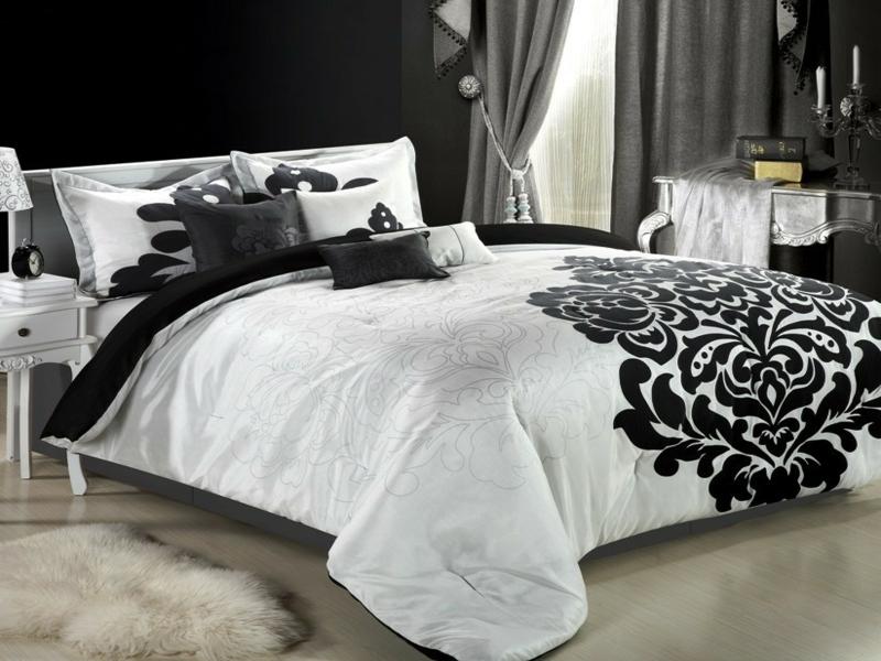 luxus weiße bettwäsche mit schwarze bettwäsche