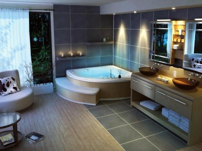 mehrere designer lichtquellen im bad