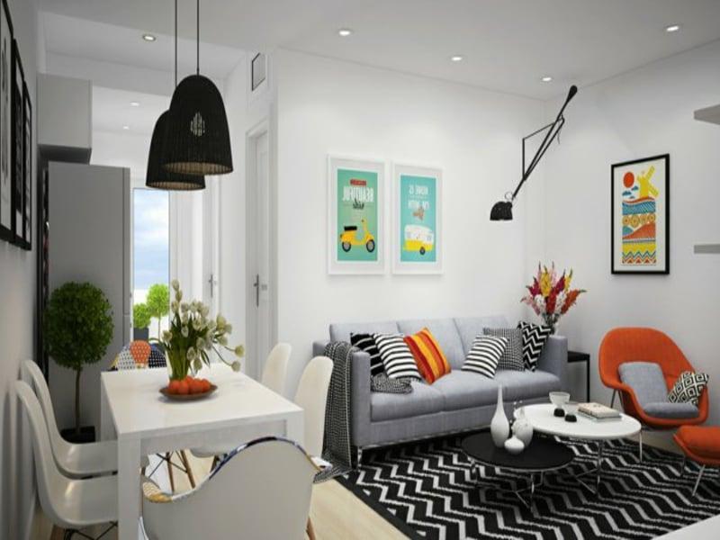 designer modernes wohnzimmerteppich in schwarz und weiß