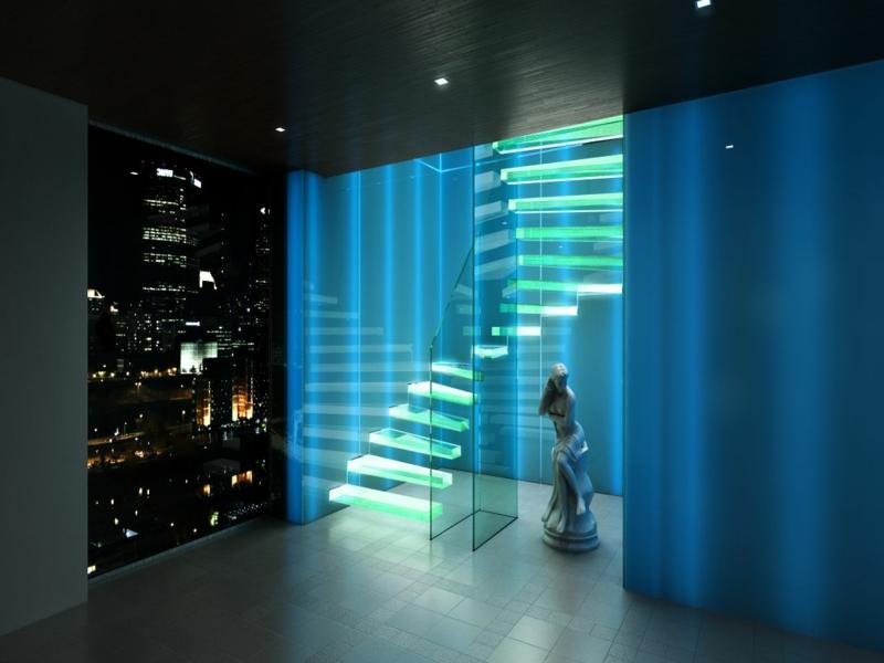 wunderschöne leuchtende treppe inder nacht