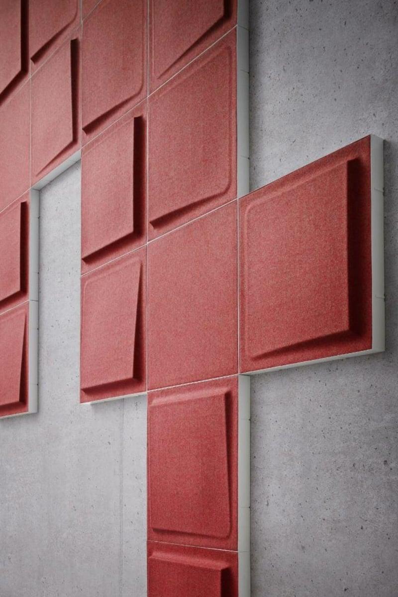 Akustikplatten im Rot