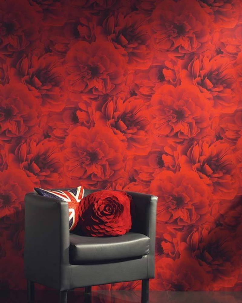 Foto Tapete mit roten Blumen