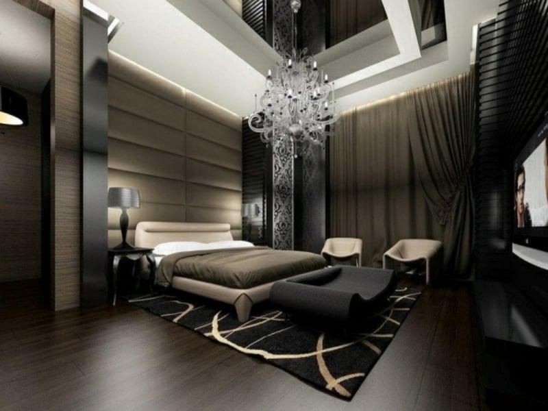 moderne dunkle farben im luxus schlafzimmer