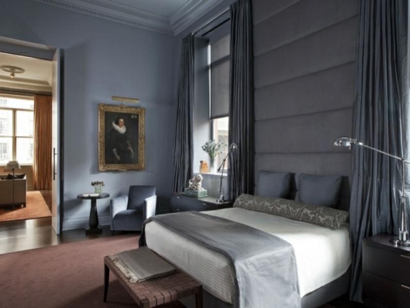klassische länge vorhänge im luxus schlafzimmer
