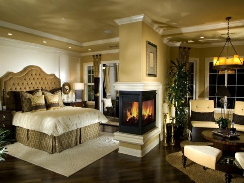 designer kamin im luxus schlafzimmer