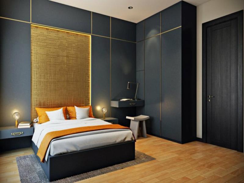 orange akzente und originelle beleuchtung im schlafzimmer