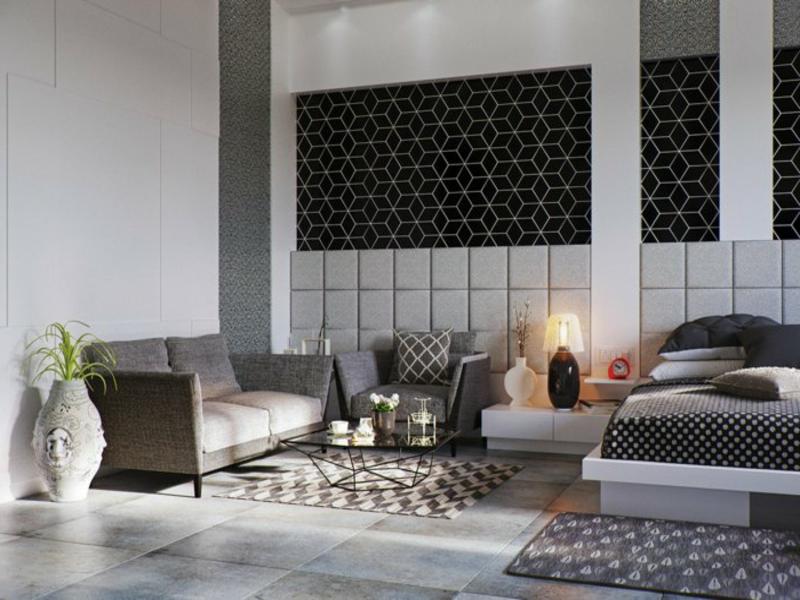 schlaf- und wohnzimmer in pastellfarben