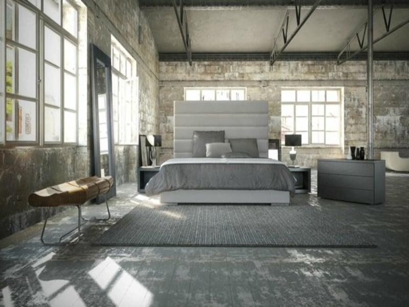 moderne schlafzimmergestaltung mit grauem teppich