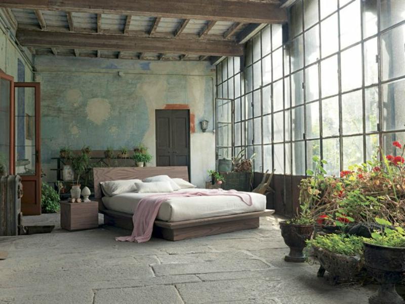 srustikale schlafzimmergestaltung mit pflanzen