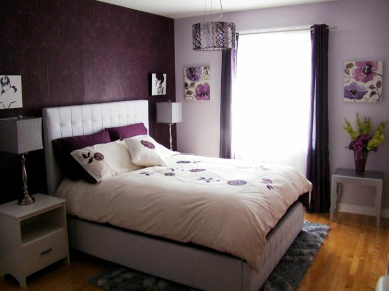 schlafzimmergestaltung mit lila farben