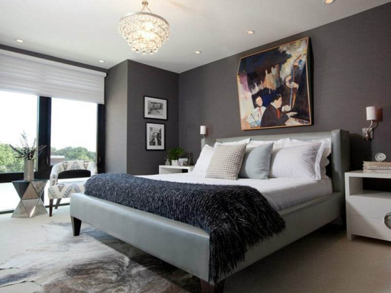 dunkle farben im schlafzimmer