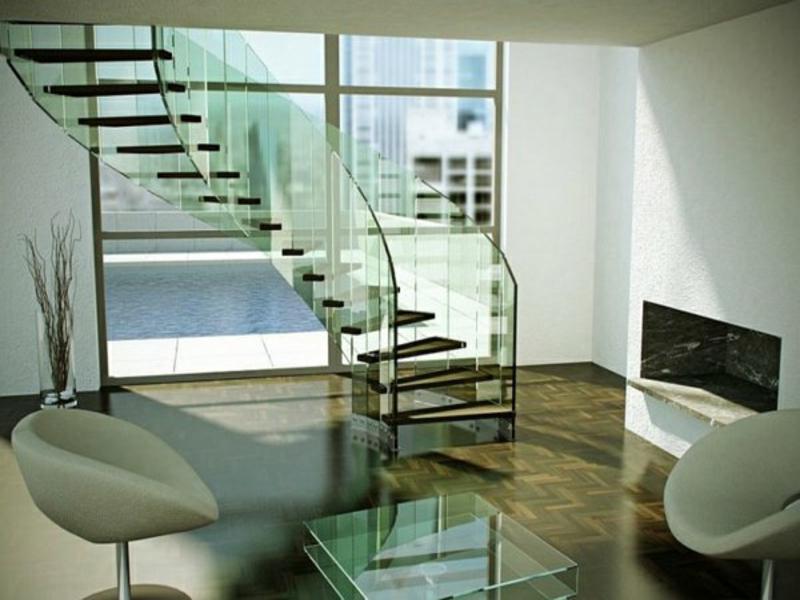 sessel neben der modernen glastreppe