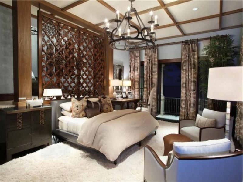 luxus schlafzimmer mit holztrennwand