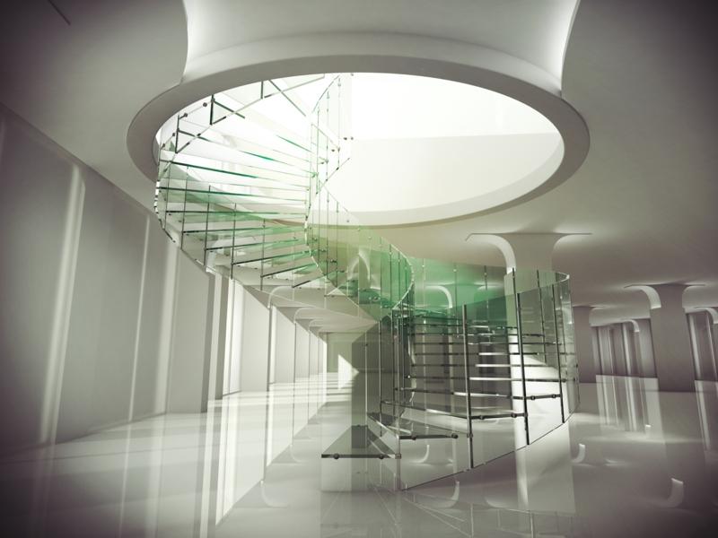 spiralförmige moderne treppen aus glas