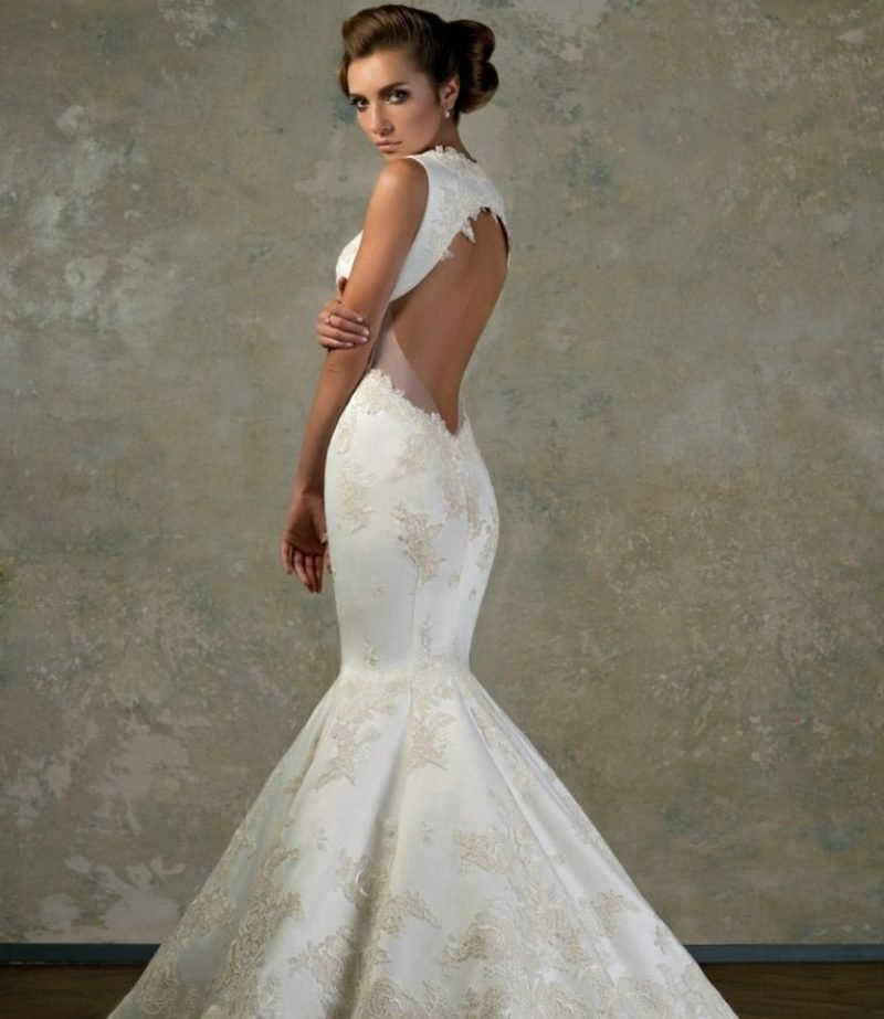 elegantes rückenfreies Brautkleid