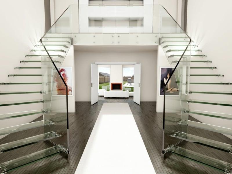 extravagante identische moderne treppen