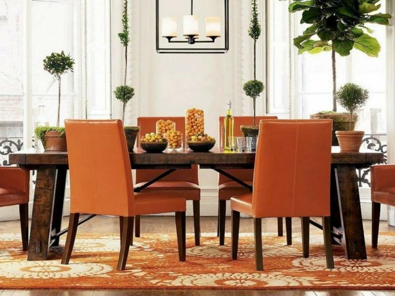 orange farben auf dem traumteppich im esszimmer