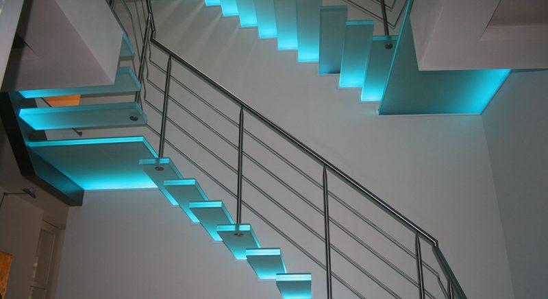 Treppenbeleuchtung Glastreppe