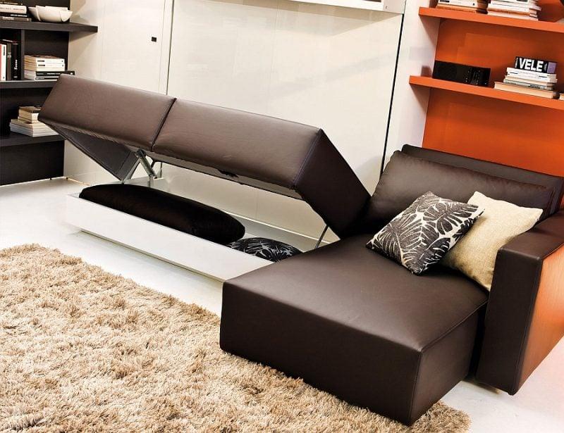Wandbett mit Sofa